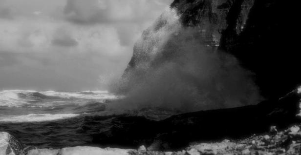 A heavy sea battering the cliffs at Staithes, North Yorkshire, where an unidentified body was found August 28, 1969. Copyright John Keeling