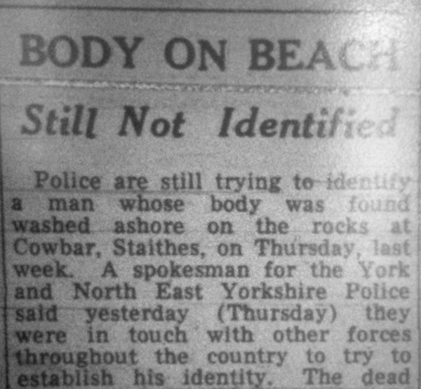 Newspaper clipping about unidentified body found at Staithes, North Yorks, August 28th, 1969